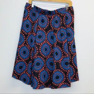 LulaRoe Madison Skirt Brown / Blue / Orange 3XL